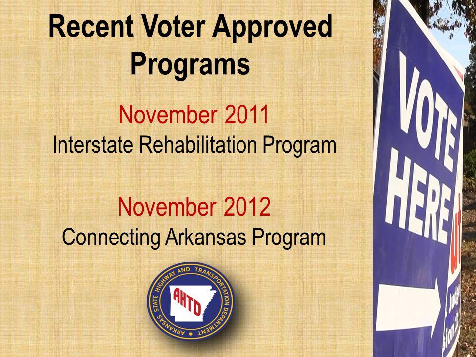 Recent Voter Approved Programs November 2011 Interstate Rehabilitation Program November 2012 Connecting Arkansas Program