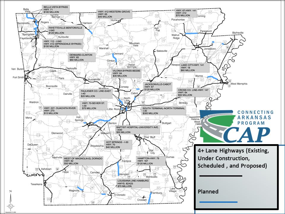 MAP GOES HERE 4+ Lane Highways (Existing, Under Construction, Scheduled, and Proposed) Planned