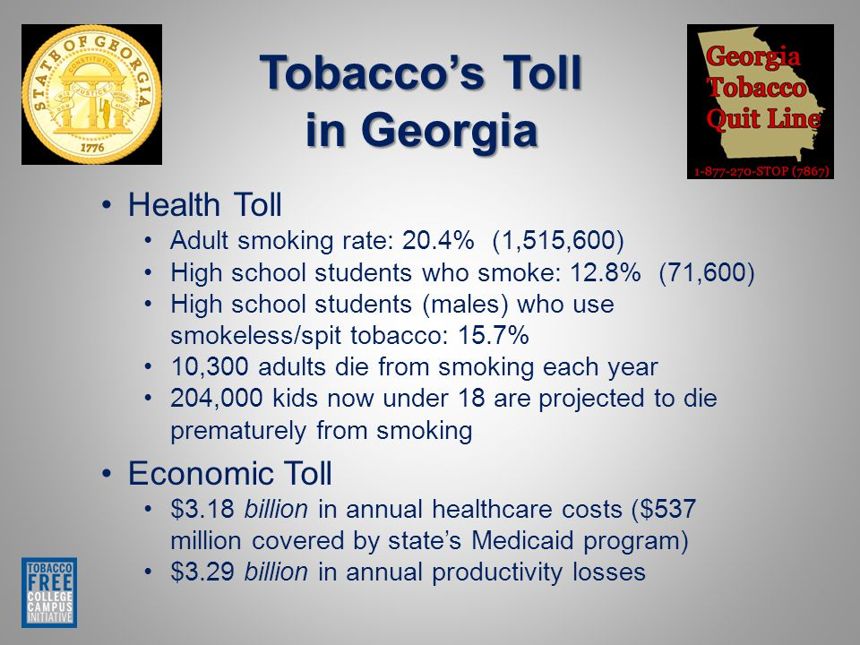 Tobacco's Toll in Georgia Health Toll Adult smoking rate: 20.4% (1,515,600) High school students who smoke: 12.8% (71,600) High school students (males) who use smokeless/spit tobacco: 15.7% 10,300 adults die from smoking each year 204,000 kids now under 18 are projected to die prematurely from smoking Economic Toll $3.18 billion in annual healthcare costs ($537 million covered by state's Medicaid program) $3.29 billion in annual productivity losses
