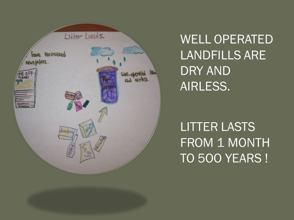 WELL OPERATED LANDFILLS ARE DRY AND AIRLESS. LITTER LASTS FROM 1 MONTH TO 5OO YEARS !