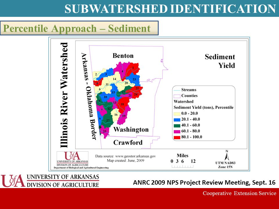 Cooperative Extension Service Percentile Approach – Sediment ANRC 2009 NPS Project Review Meeting, Sept. 16 SUBWATERSHED IDENTIFICATION