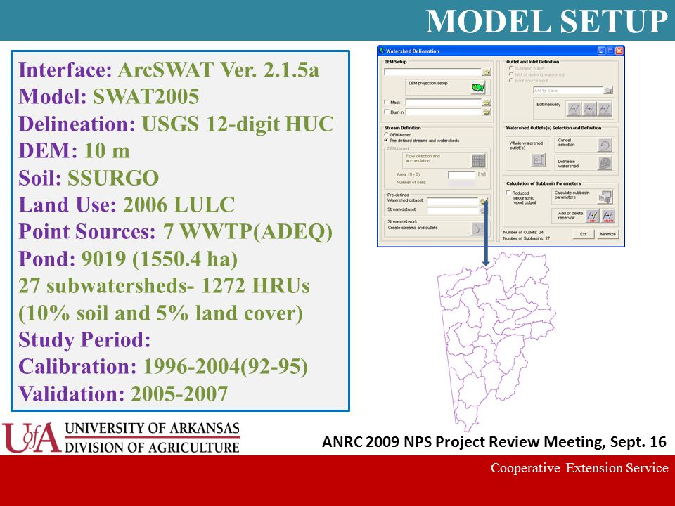 Cooperative Extension Service ANRC 2009 NPS Project Review Meeting, Sept. 16 Interface: ArcSWAT Ver. 2.1.5a Model: SWAT2005 Delineation: USGS 12-digit