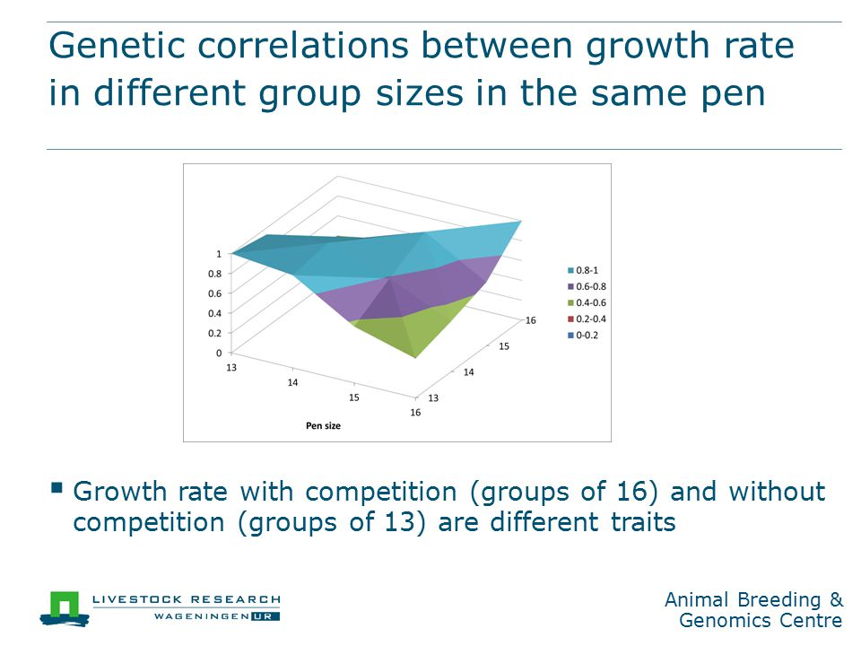 Animal Breeding & Genomics Centre Genetic correlations between growth rate in different group sizes in the same pen  Growth rate with competition (groups of 16) and without competition (groups of 13) are different traits