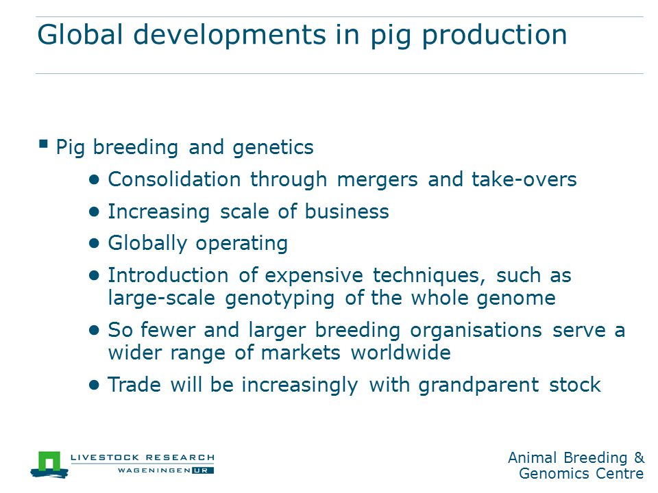 Animal Breeding & Genomics Centre Breeding for the future  Five generations of pigs is seven years in practice  What should be changed through genetic selection.