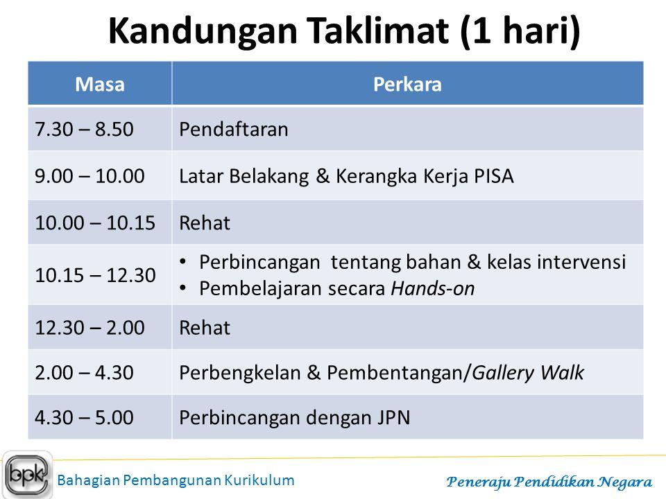 Kandungan Taklimat (2 hari) MasaPerkara HARI PERTAMA 12.00 – 3.00Pendaftaran 3.00 – 4.30 Latar Belakang & Kerangka Kerja PISA 4.30 – 8.30Rehat 8.30 – 10.00 Perbincangan tentang bahan & kelas intervensi Pembelajaran secara Hands-on HARI KEDUA 8.00 – 10.00Perbengkelan & Pembentangan/Gallery Walk 10.30 – 12.30Perbincangan dengan JPN Bahagian Pembangunan Kurikulum Peneraju Pendidikan Negara