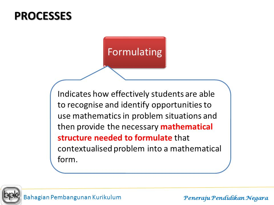 PROCESSES FormulatingEmployingInterpreting Indicates how effectively students are able to recognise and identify opportunities to use mathematics in p