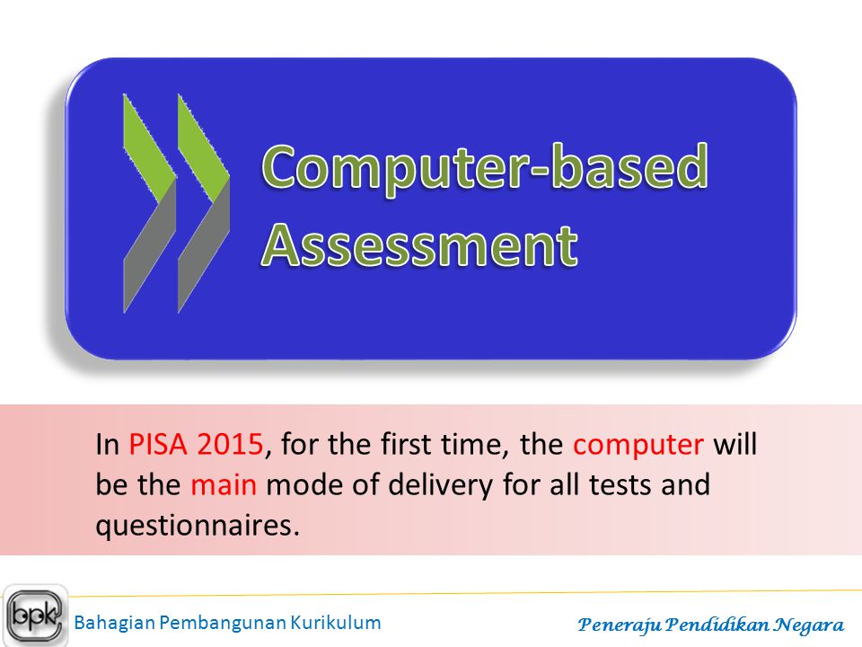 In PISA 2015, for the first time, the computer will be the main mode of delivery for all tests and questionnaires. Bahagian Pembangunan Kurikulum Pene