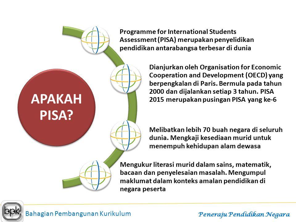 APAKAH PISA? Programme for International Students Assessment (PISA) merupakan penyelidikan pendidikan antarabangsa terbesar di dunia Dianjurkan oleh O