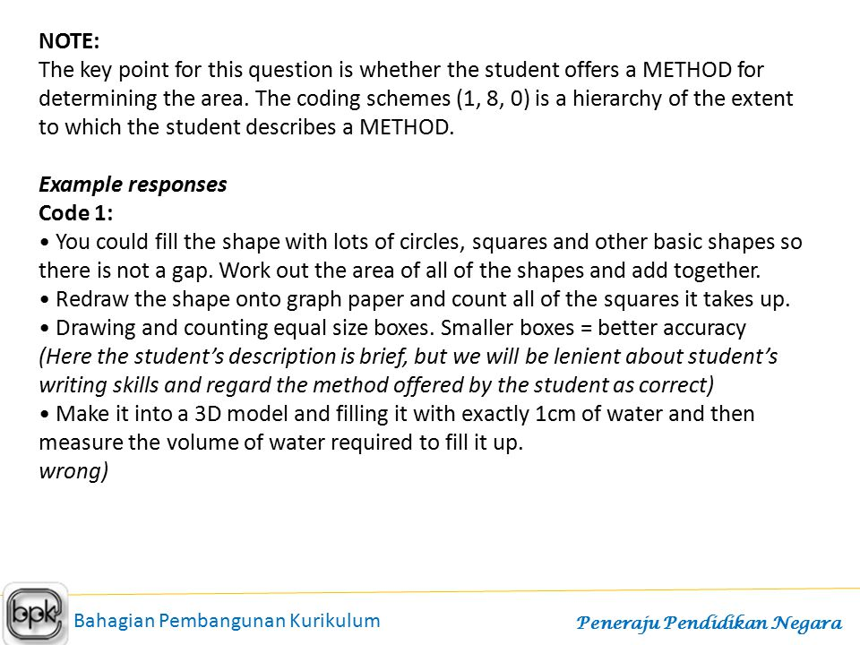 NOTE: The key point for this question is whether the student offers a METHOD for determining the area. The coding schemes (1, 8, 0) is a hierarchy of