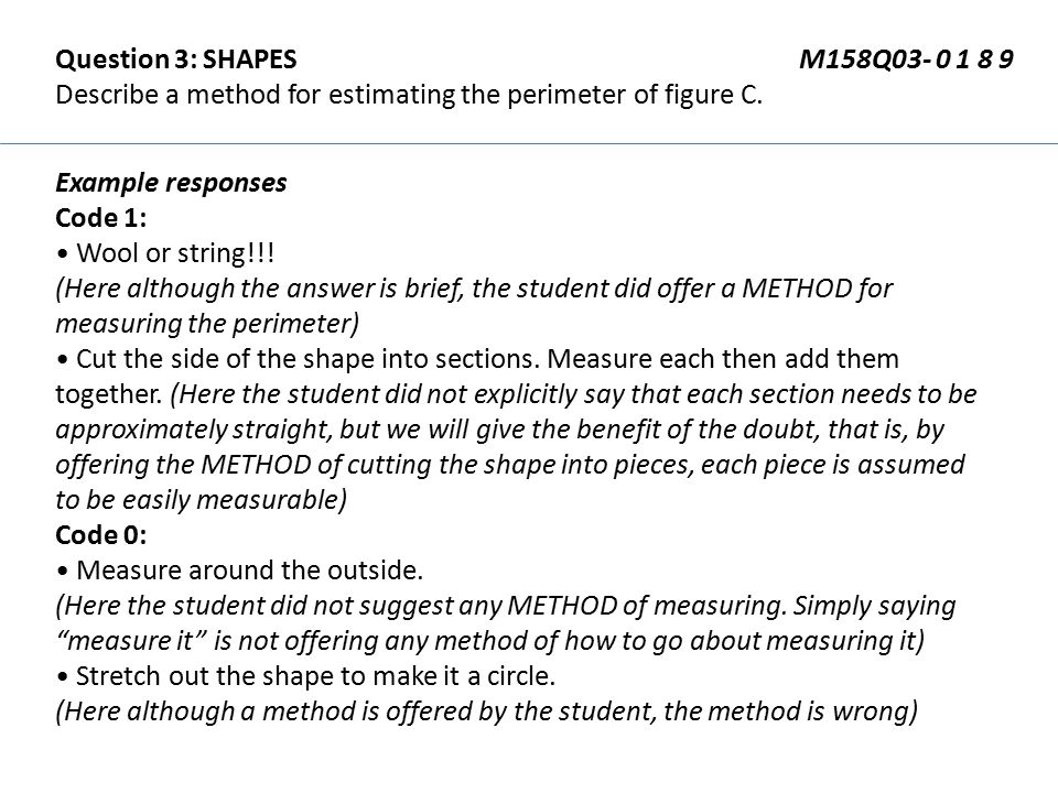Question 3: SHAPES M158Q03- 0 1 8 9 Describe a method for estimating the perimeter of figure C. Example responses Code 1: Wool or string!!! (Here alth