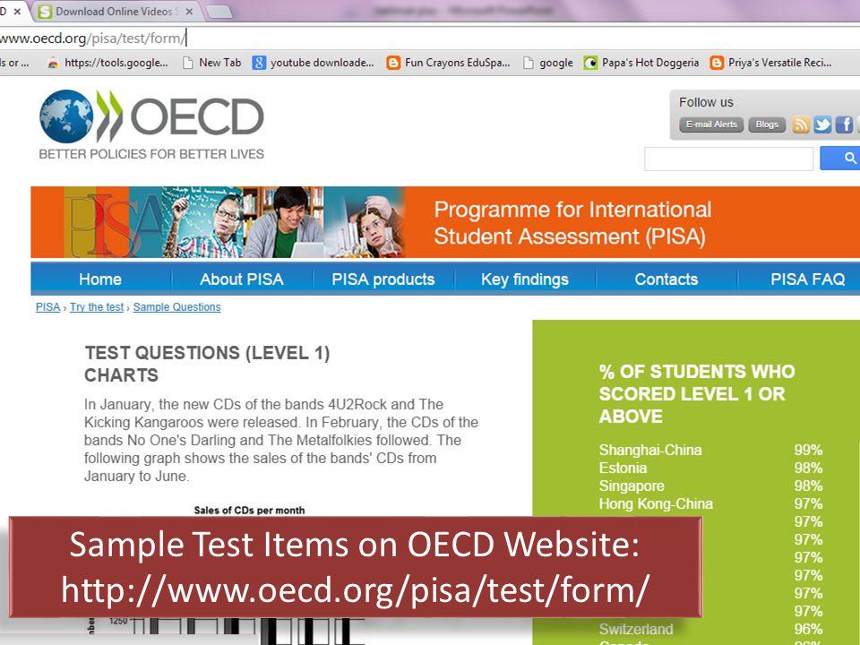 Sample Test Items on OECD Website: http://www.oecd.org/pisa/test/form/ Sample Test Items on OECD Website: http://www.oecd.org/pisa/test/form/