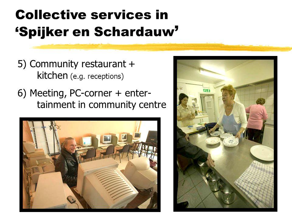 Collective services in 'Spijker en Schardauw ' 5) Community restaurant + kitchen (e.g. receptions) 6) Meeting, PC-corner + enter- tainment in communit