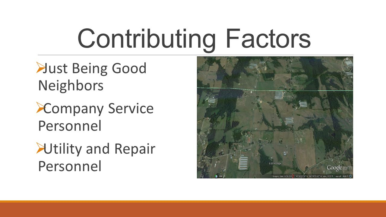 Contributing Factors  Just Being Good Neighbors  Company Service Personnel  Utility and Repair Personnel