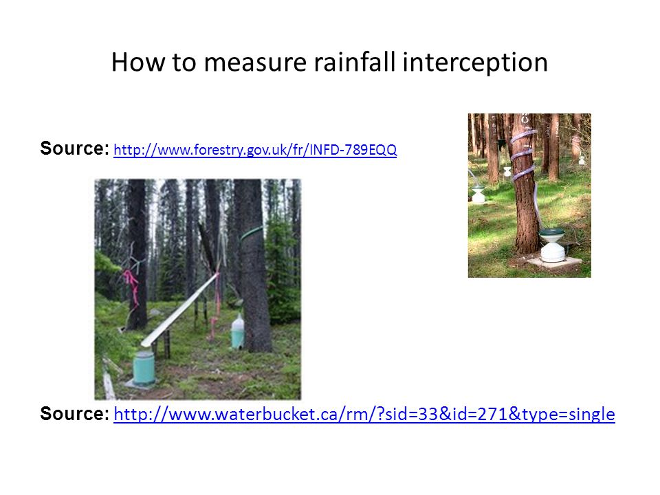 How to measure rainfall interception Source: http://www.forestry.gov.uk/fr/INFD-789EQQ http://www.forestry.gov.uk/fr/INFD-789EQQ Source: http://www.waterbucket.ca/rm/?sid=33&id=271&type=single http://www.waterbucket.ca/rm/?sid=33&id=271&type=single