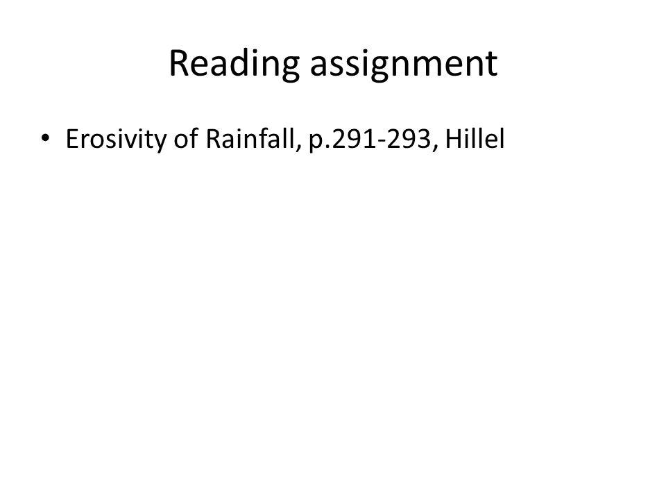 Reading assignment Erosivity of Rainfall, p.291-293, Hillel