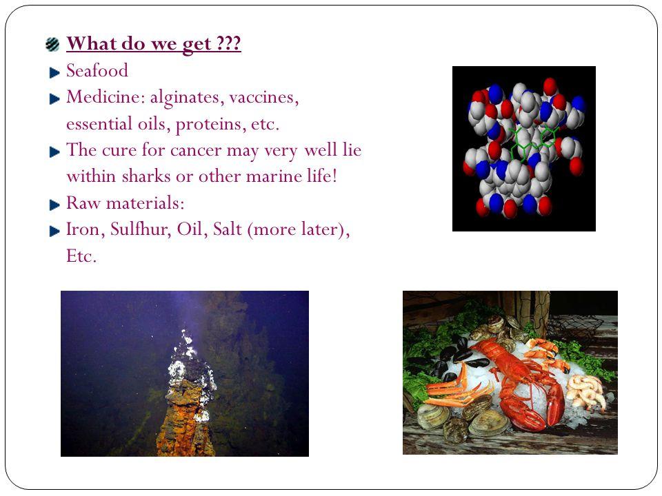 What do we get . Seafood Medicine: alginates, vaccines, essential oils, proteins, etc.
