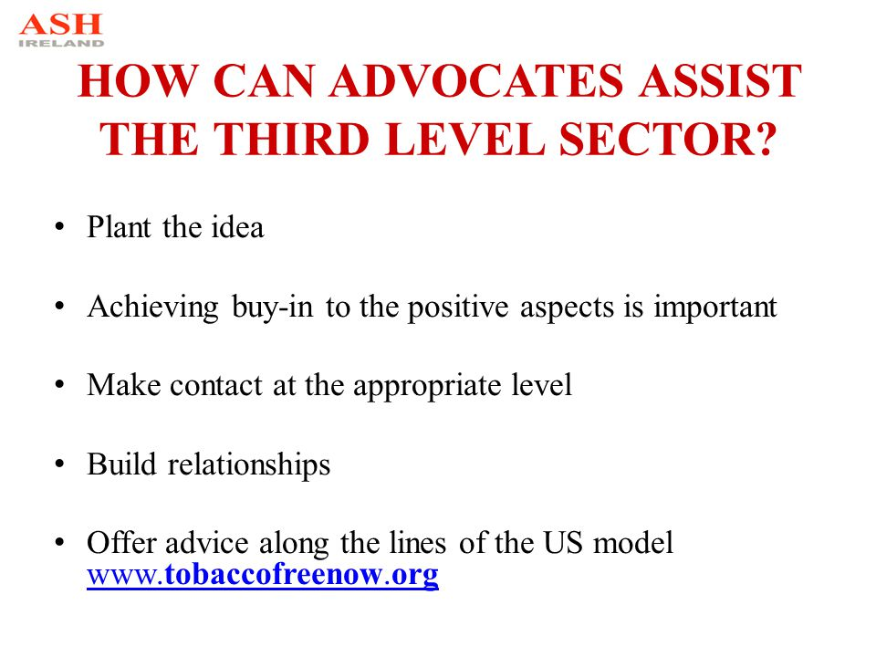 HOW CAN ADVOCATES ASSIST THE THIRD LEVEL SECTOR? Plant the idea Achieving buy-in to the positive aspects is important Make contact at the appropriate