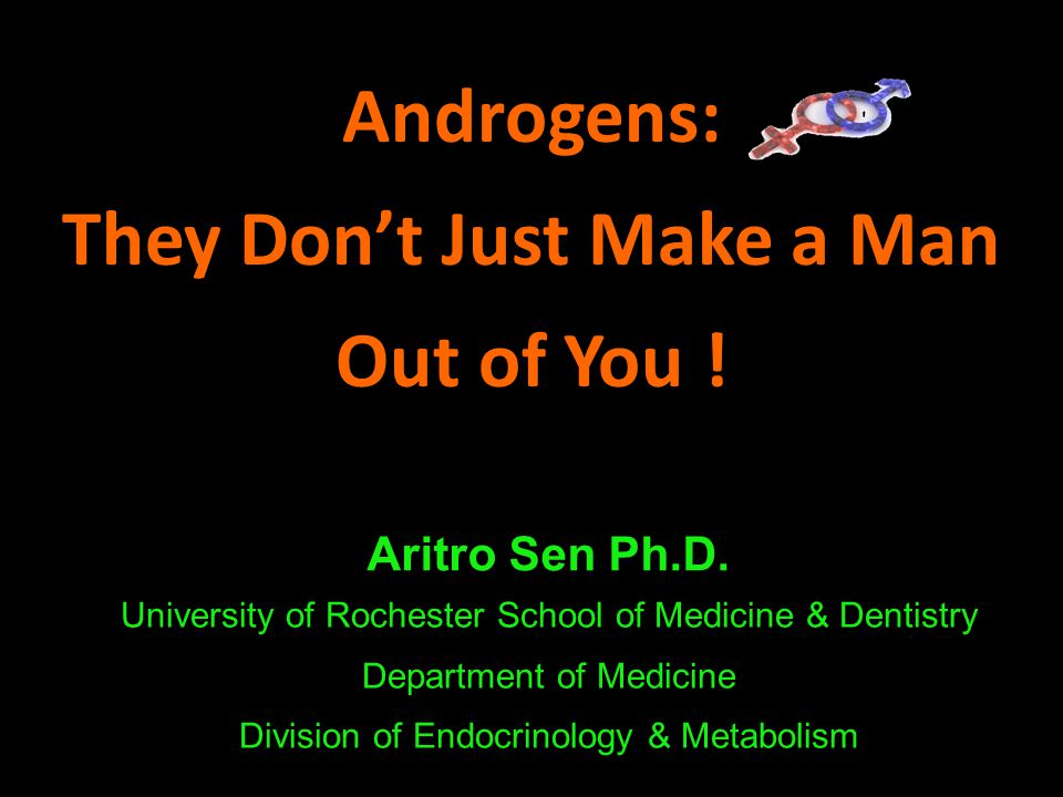 Androgens: They Don't Just Make a Man Out of You ! Aritro Sen Ph.D. University of Rochester School of Medicine & Dentistry Department of Medicine Divi