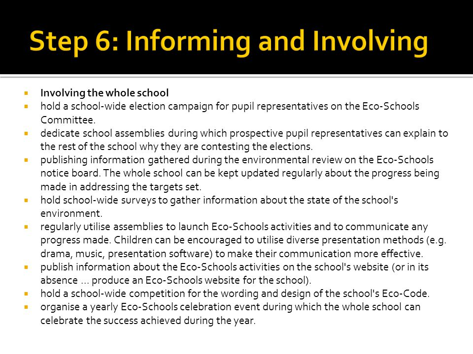  Involving the whole school  hold a school-wide election campaign for pupil representatives on the Eco-Schools Committee.