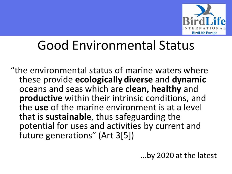 Good Environmental Status the environmental status of marine waters where these provide ecologically diverse and dynamic oceans and seas which are clean, healthy and productive within their intrinsic conditions, and the use of the marine environment is at a level that is sustainable, thus safeguarding the potential for uses and activities by current and future generations (Art 3[5])...by 2020 at the latest