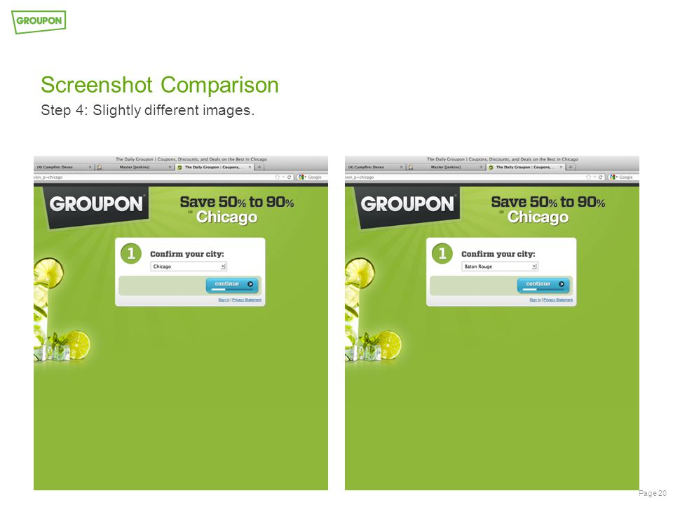 Screenshot Comparison Step 4: Slightly different images. Page 20