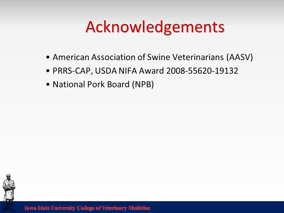 Iowa State University College of Veterinary Medicine Acknowledgements American Association of Swine Veterinarians (AASV) PRRS-CAP, USDA NIFA Award 2008-55620-19132 National Pork Board (NPB)