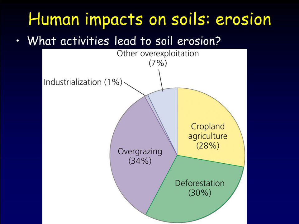 Human impacts on soils: erosion What activities lead to soil erosion