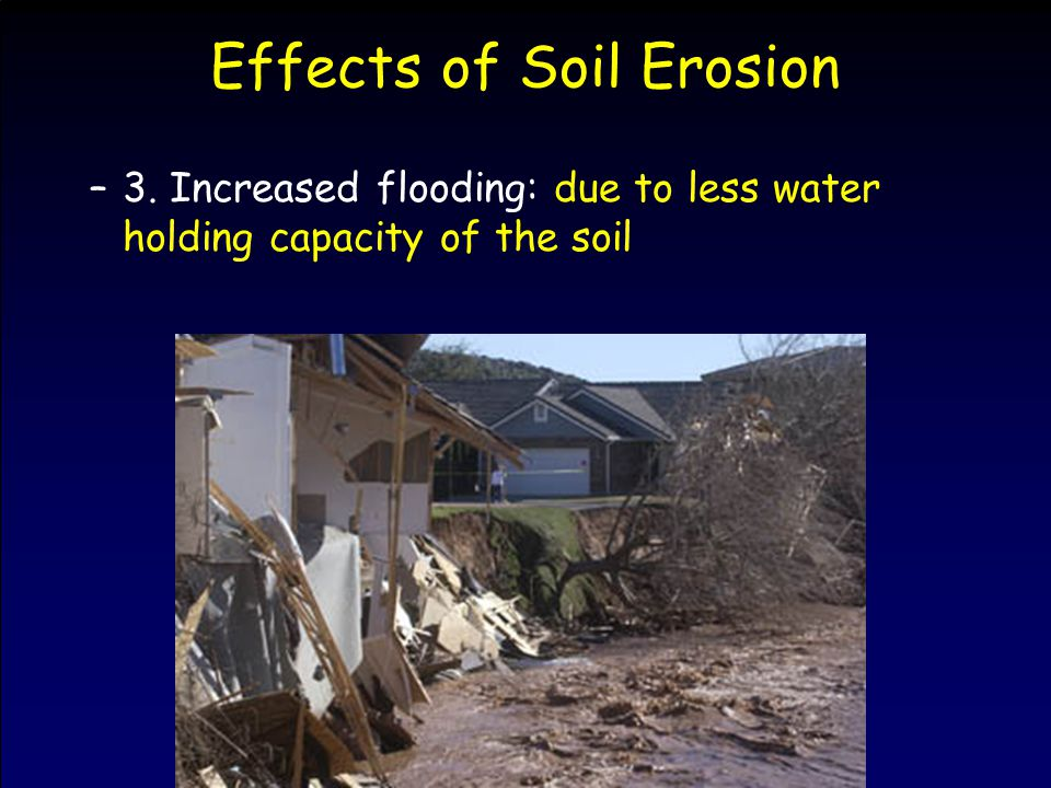 Effects of Soil Erosion –3. Increased flooding: due to less water holding capacity of the soil
