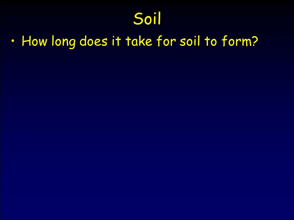 How long does it take for soil to form?