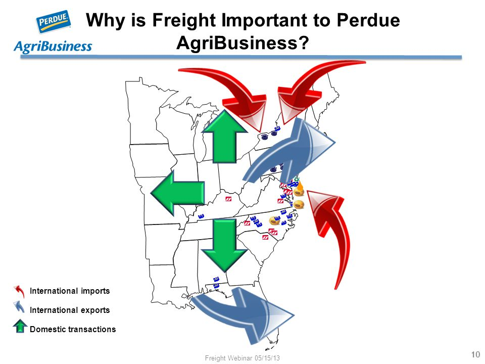 Why is Freight Important to Perdue AgriBusiness? 10 International imports International exports Domestic transactions 10 Freight Webinar 05/15/13