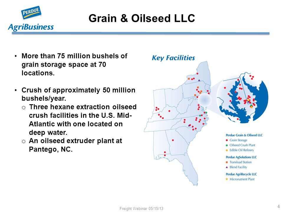 Grain & Oilseed LLC More than 75 million bushels of grain storage space at 70 locations. Crush of approximately 50 million bushels/year. o Three hexan