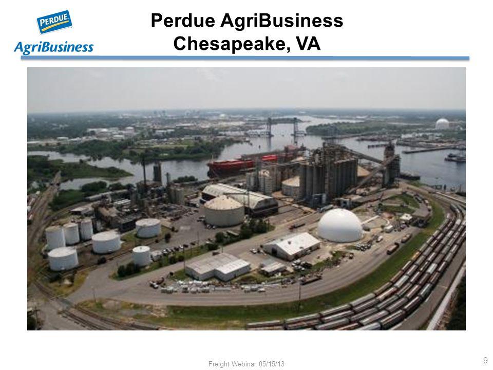 Perdue AgriBusiness Chesapeake, VA Freight Webinar 05/15/13 9 Chesapeake, VA Oilseed Crushing and Export Grain Terminal