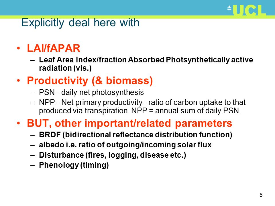 5 Explicitly deal here with LAI/fAPAR –Leaf Area Index/fraction Absorbed Photsynthetically active radiation (vis.) Productivity (& biomass) –PSN - dai