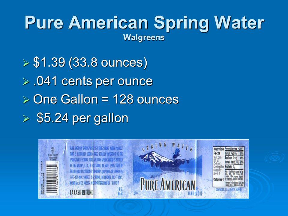 Pure American Spring Water Walgreens  $1.39 (33.8 ounces) .041 cents per ounce  One Gallon = 128 ounces  $5.24 per gallon