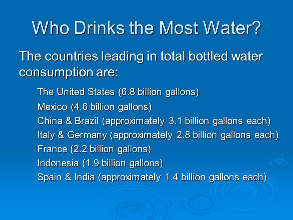 Who Drinks the Most Water.