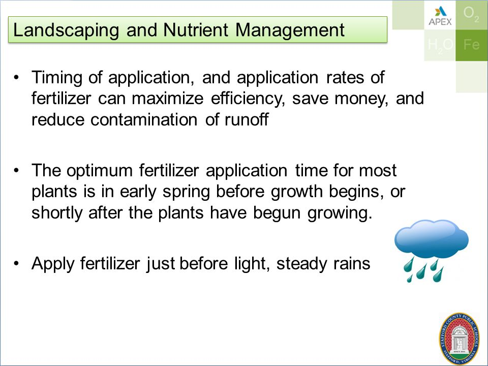 Landscaping and Nutrient Management Timing of application, and application rates of fertilizer can maximize efficiency, save money, and reduce contamination of runoff The optimum fertilizer application time for most plants is in early spring before growth begins, or shortly after the plants have begun growing.