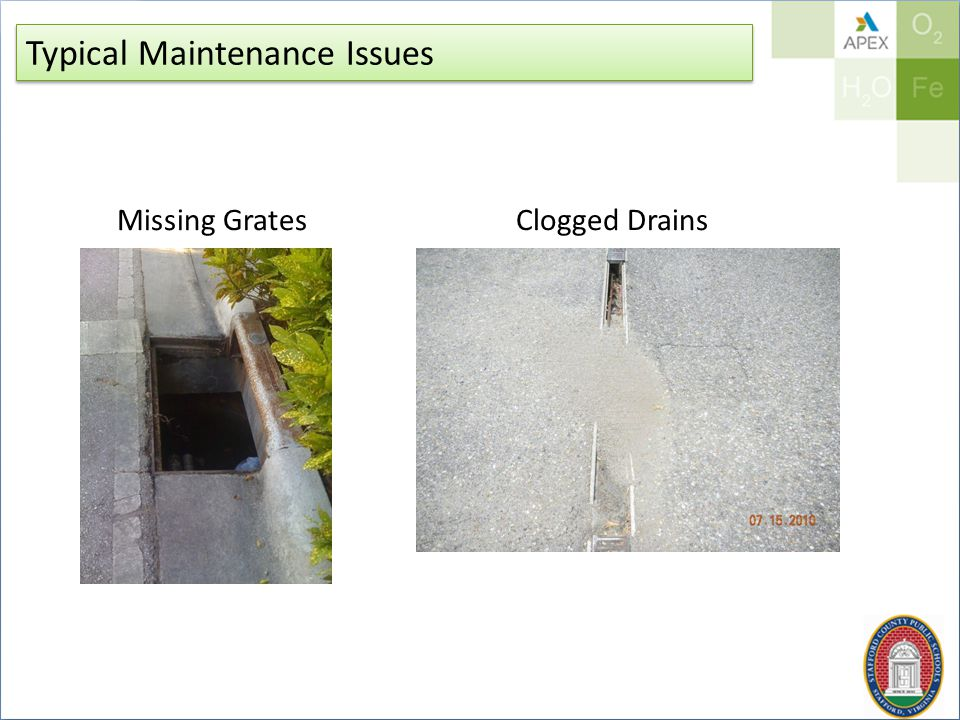 Typical Maintenance Issues Missing GratesClogged Drains