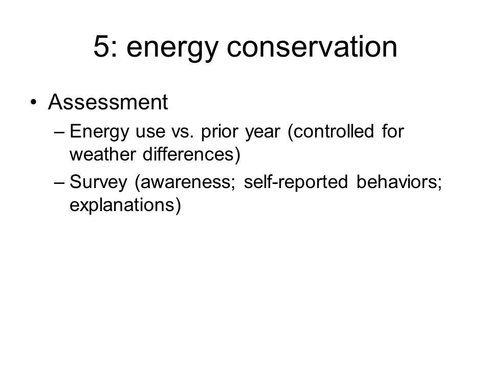 5: energy conservation Assessment –Energy use vs.