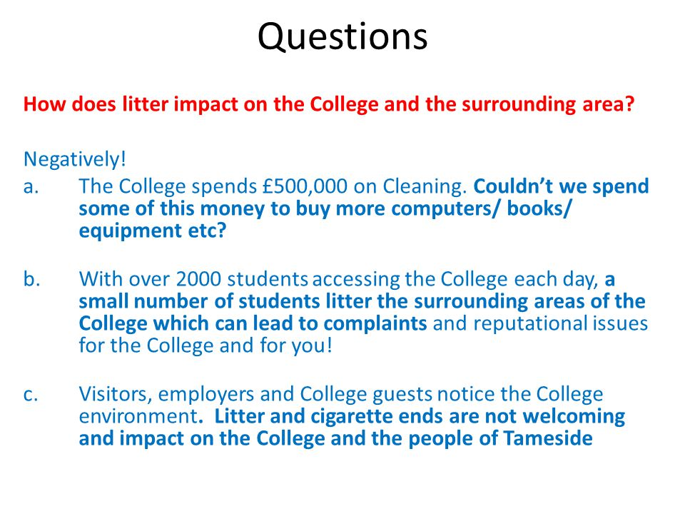 Questions How does litter impact on the College and the surrounding area.