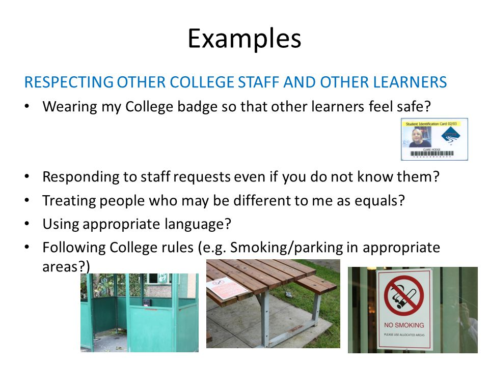 Examples RESPECTING OTHER COLLEGE STAFF AND OTHER LEARNERS Wearing my College badge so that other learners feel safe.