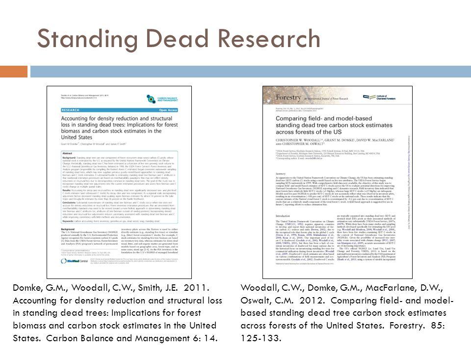 Standing Dead Research Woodall, C.W., Domke, G.M., MacFarlane, D.W., Oswalt, C.M.
