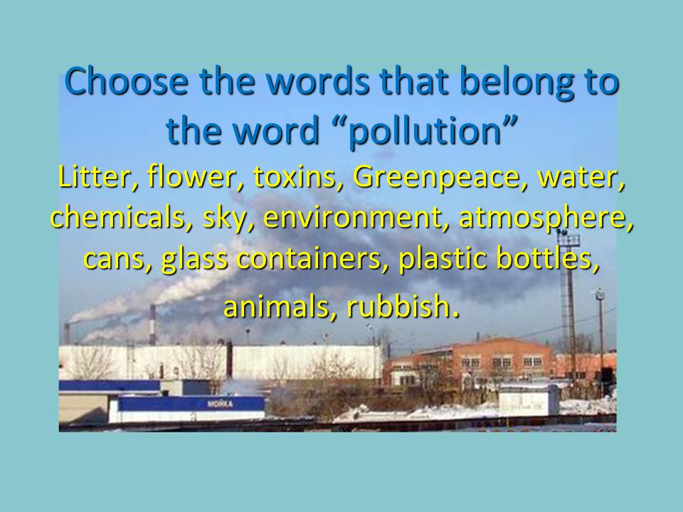 """Сhoose the words that belong to the word """"pollution"""" Litter, flower, toxins, Greenpeace, water, chemicals, sky, environment, atmosphere, cans, glass c"""