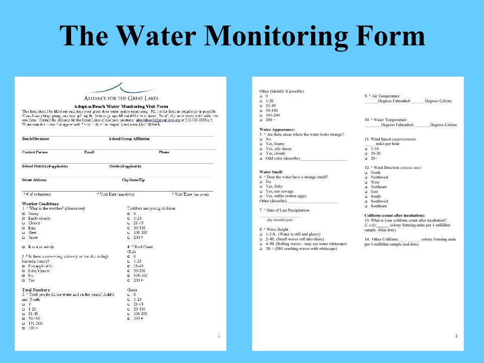 The Water Monitoring Form