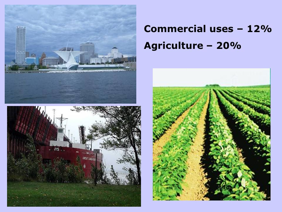 Commercial uses – 12% Agriculture – 20%