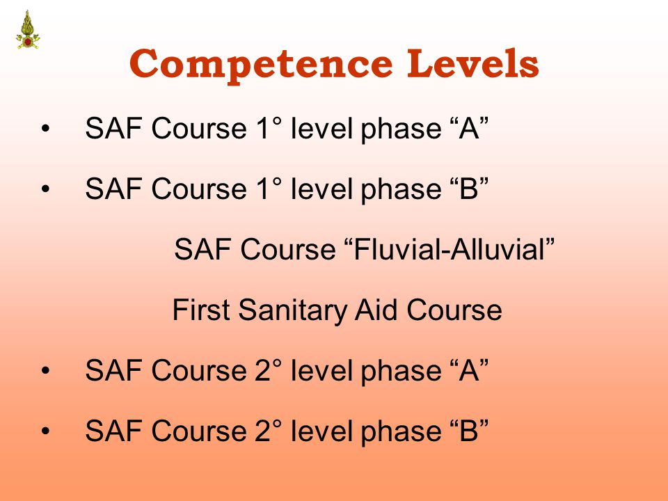 Competence Levels SAF Course 1° level phase A SAF Course 1° level phase B SAF Course Fluvial-Alluvial First Sanitary Aid Course SAF Course 2° level phase A SAF Course 2° level phase B