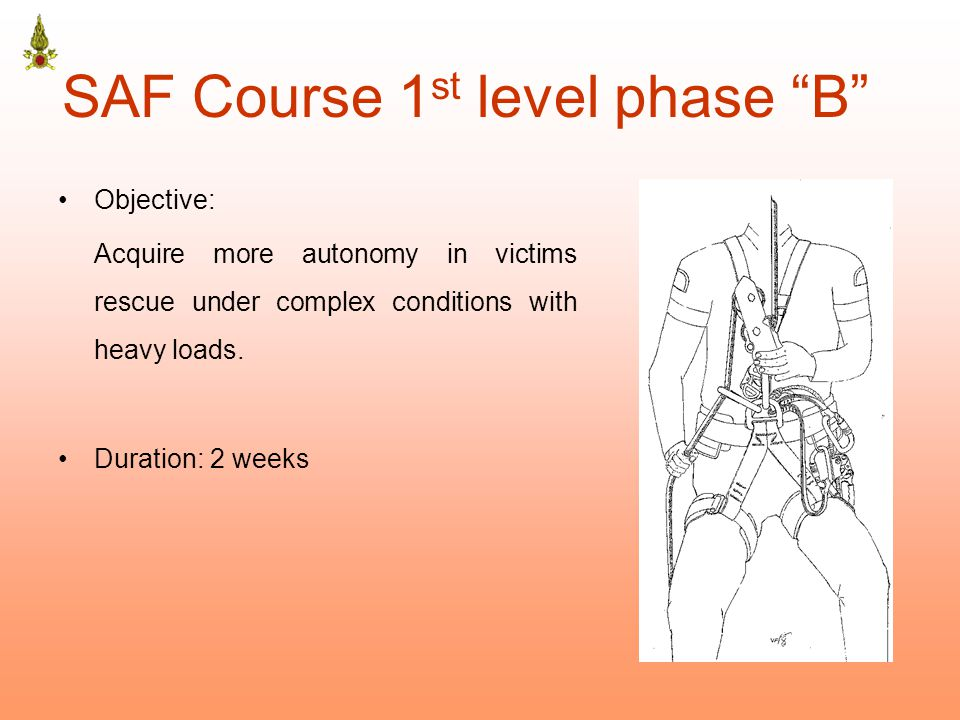 SAF Course 1 st level phase B Objective: Acquire more autonomy in victims rescue under complex conditions with heavy loads.