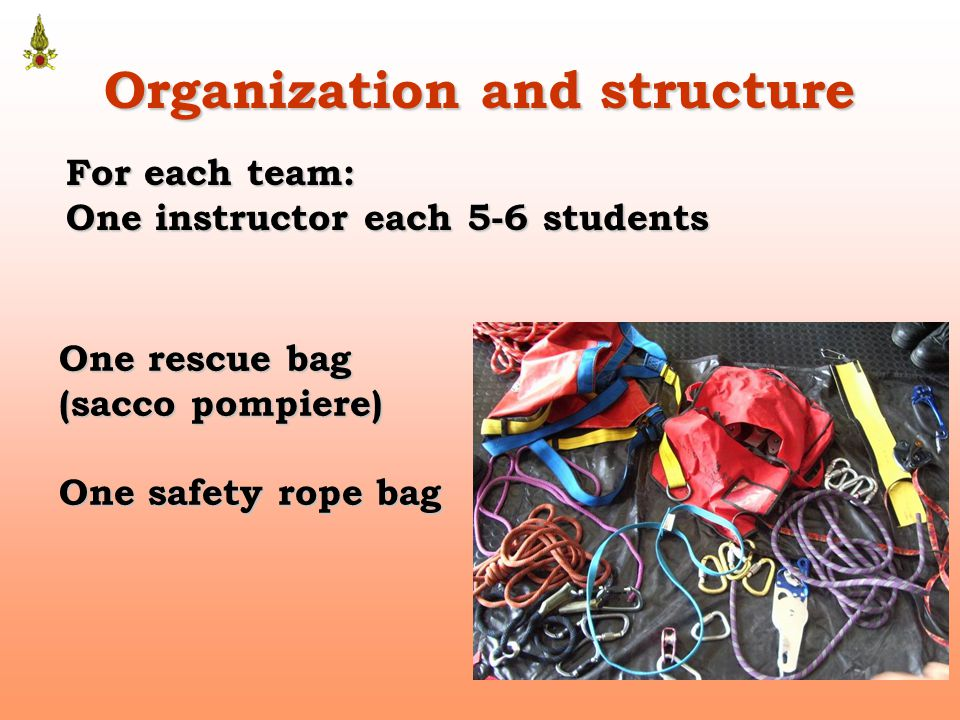 Organization and structure For each team: One instructor each 5-6 students One rescue bag (sacco pompiere) One safety rope bag