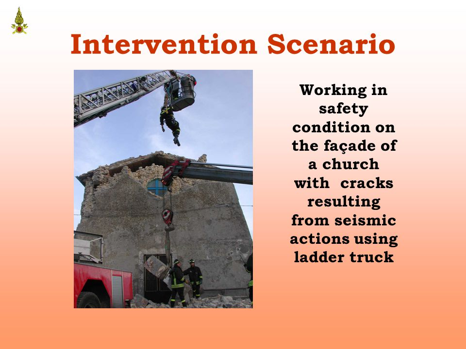 Intervention Scenario Working in safety condition on the façade of a church with cracks resulting from seismic actions using ladder truck