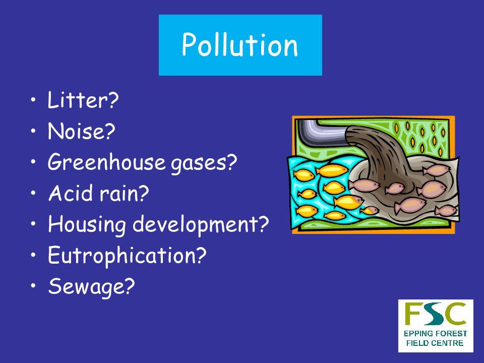 Pollution Litter Noise Greenhouse gases Acid rain Housing development Eutrophication Sewage