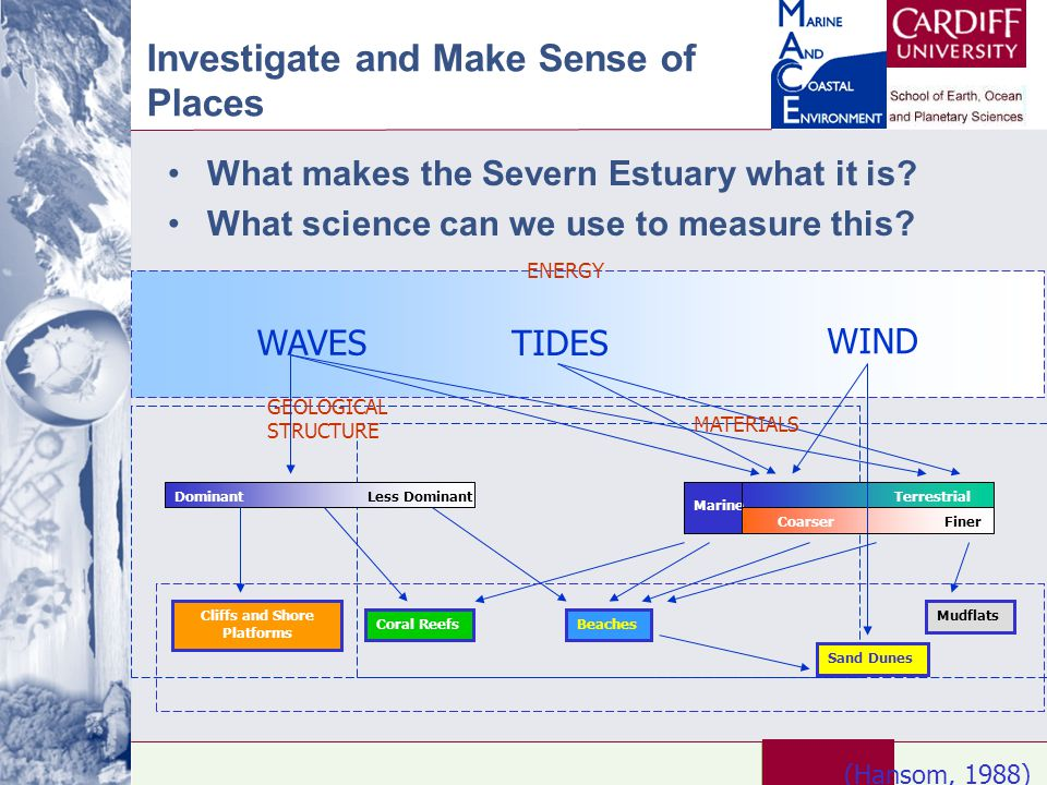Investigate and Make Sense of Places What makes the Severn Estuary what it is? What science can we use to measure this? WAVES WIND TIDES GEOLOGICAL ST